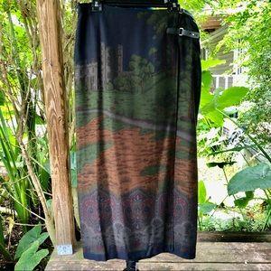 Ralph Lauren | Castle Scene Print Long Skirt